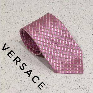 Versace Pink Green Checkered Striped Silk Tie EUC